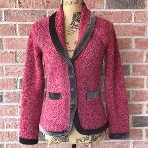 Anthro HWR Monogram Boucle Velvet Trim Sweater
